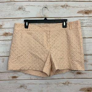Loft Pink Eyelet Crochet Overlay Shorts